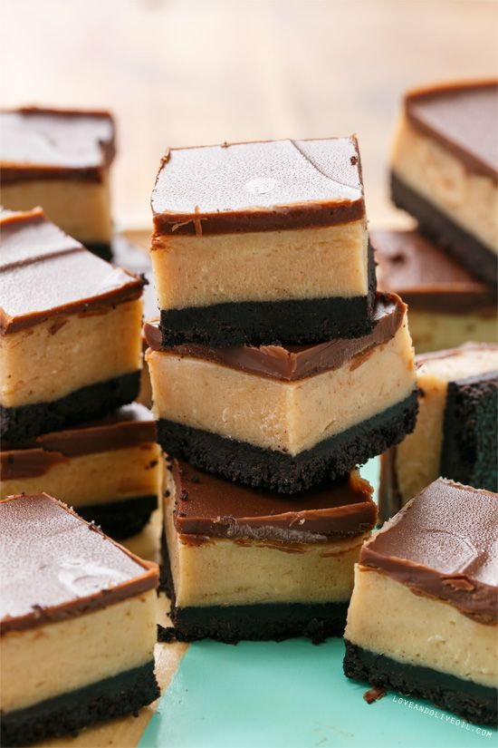 Easy Peanut Butter Cheesecake Bars with Chocolate Cookie Crust