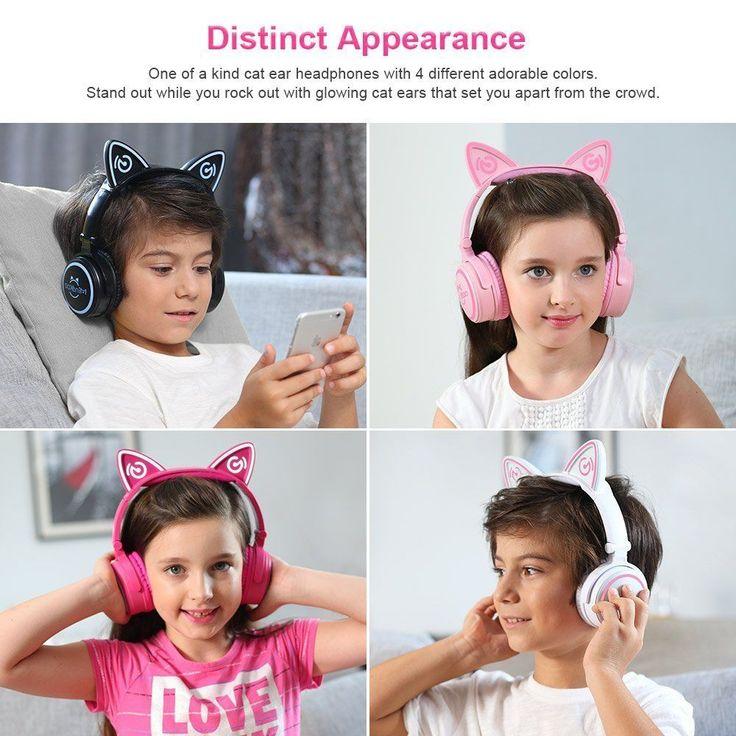 Cat Bluetooth Wireless Headphones Pink Led Lights Girls Womens Adults Gift