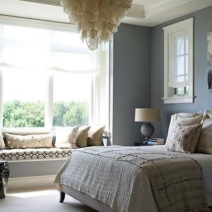 Bella Mancini Design - bedrooms - blue, walls, blue, canvas, abstract, painting, capiz, chandelier, built-in, window seat, cushion, glossy, black, geometric, garden stool, tray, ceiling, window seat, bedroom window seat, window seat in bedroom,