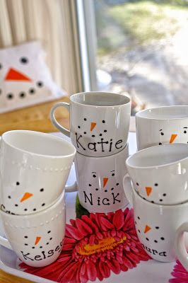 snowman sharpie mugs, hot chocolate supplies inside