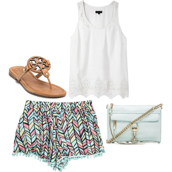 Mint and print aztec print shorts, white tank with laser cut detail, mint crossbody bag, brown Tory Burch sandals
