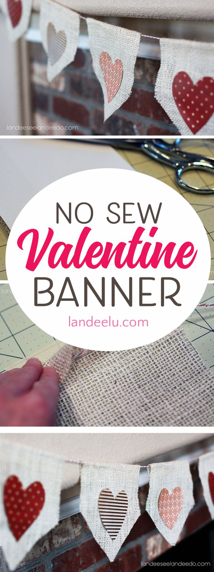 A Quick and Easy No Sew Valentine Banner! Get those Valentine decorations up in ...