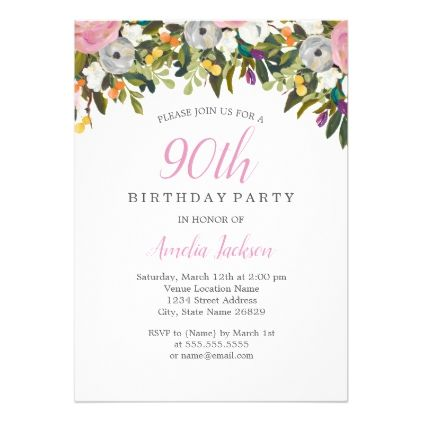 Modern Floral Pink 90th Birthday Invitation