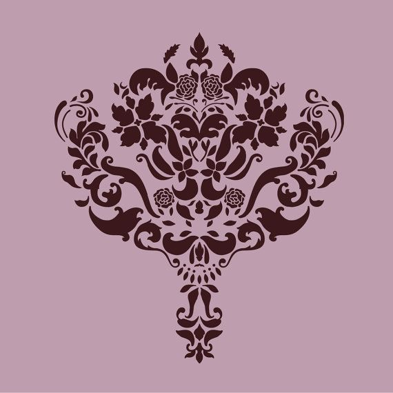Large Wall Damask STENCIL Pattern FAUX  MURAL by Lightsforever, $13.75
