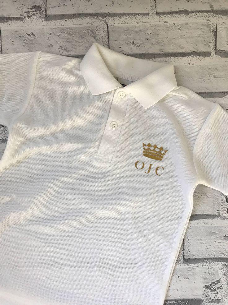 Personalised Polo T-shirt. Inital polo t-shirt. Prince polo shirt. White personalised polo shirt. by ThreadersBoutique on Etsy https://www.etsy.com/uk/listing/544299048/personalised-polo-t-shirt-inital-polo-t