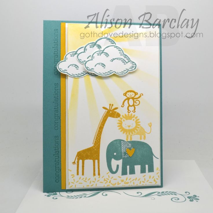 Gothdove Designs - Alison Barclay - Stampin' Up! Australia - Stampin' Up! Sprinkles of Life with Zoo Babies #stampinup #gothdovedesigns #baby #card