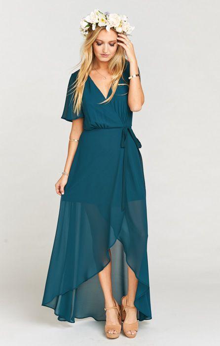 teal maxi flutter sleeve wrap dress