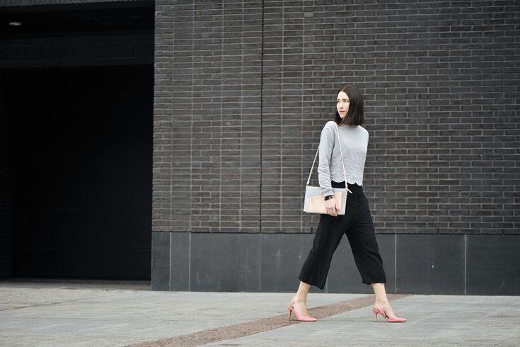 culottes-stylizacja #street #fashion #street #style #culottes #grey #blouse #outfit