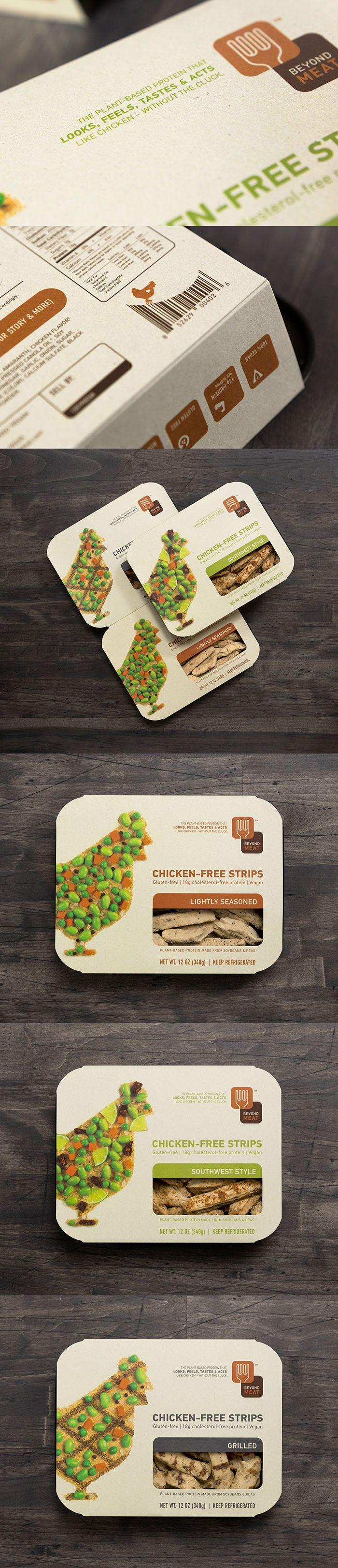 Le même ton de couleur(vert,brun,beige), le logo du poulet qui revient sur le dessus de chaque emballage