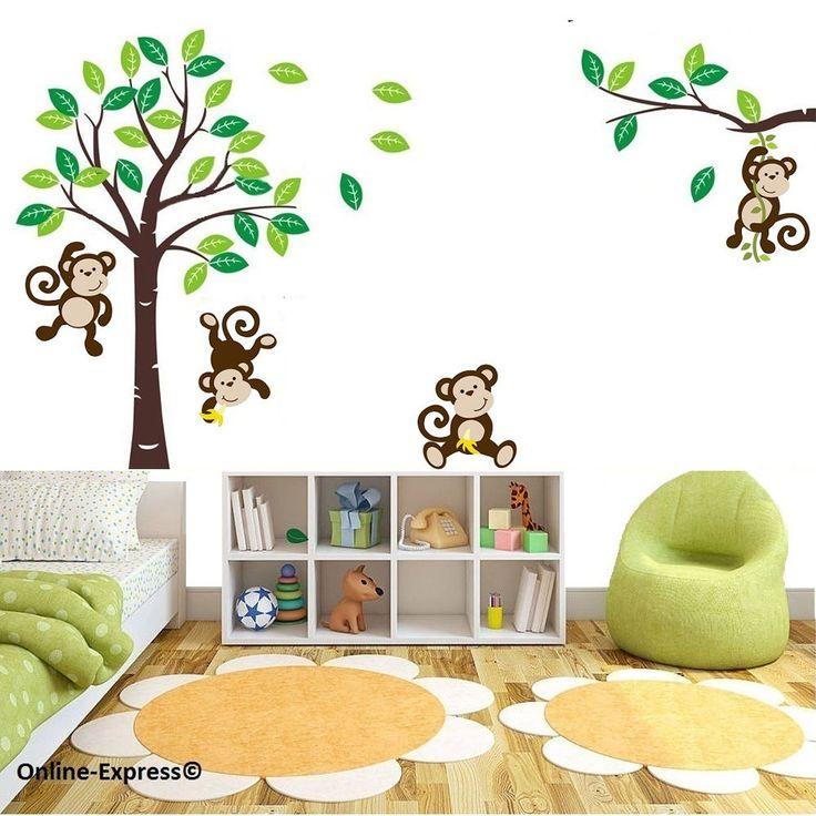 Monkey Tree Jungle Nursery Wall Art Stickers Decals Baby Childrens Bedroom UK! in Home, Furniture & DIY, DIY Materials, Wallpaper   eBay 17.99