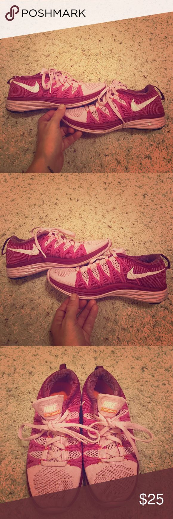 Women's Nike Flyknit Lunar 3 Pink/Purple sneakers These shoes are awesome for the price! They are lightly used and show some signs of wear, as shown in pictures, but are in really good shape still. Great for working out or going out to lunch. Nike Shoes Sneakers