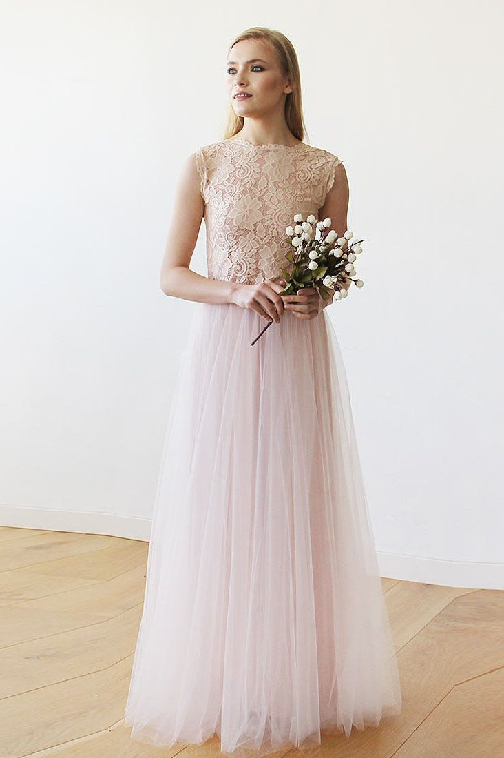 Cute wedding dresses long princess aline pink lace and tulle long