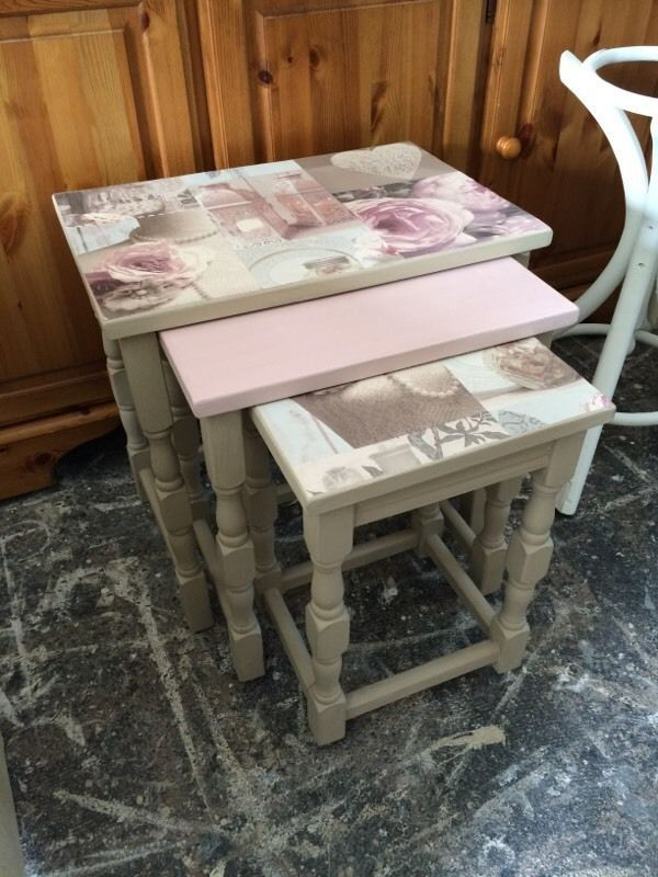 "Nest of tables painted in annie Sloan Nest of tables painted in annie Sloan country grey(cream)and pink with decoupage top collection Gipsyville or can deliver. Pls check out my face book pages ""laura shabby chic"""