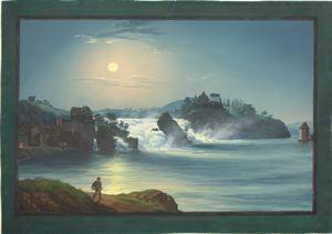 JOHANN HEINRICH NEUKOMM (Swiss, 1796 - 1865) The Rhein Falls at Schaffhousen (La Chute du Rhin à Schafhouse) 1842 Gouache on paperboard 12 1...