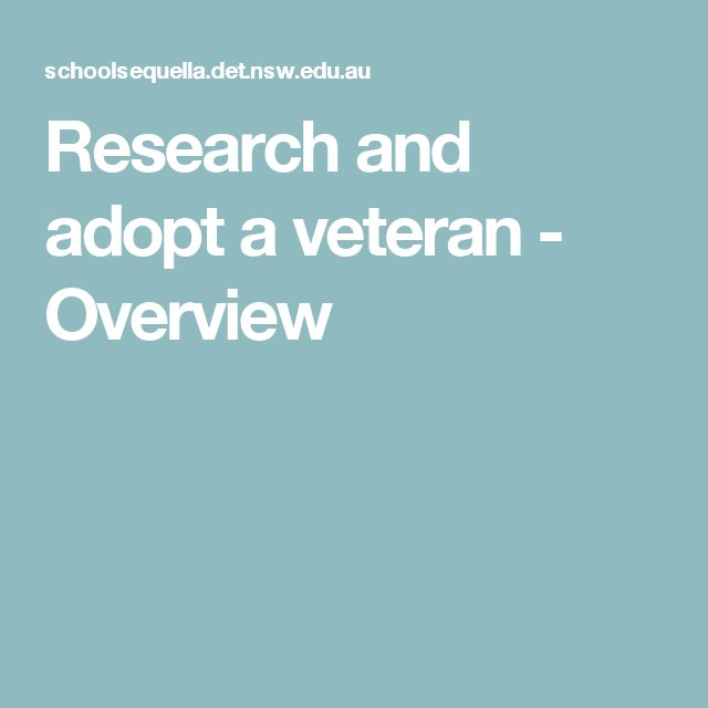 Research and adopt a veteran - Overview