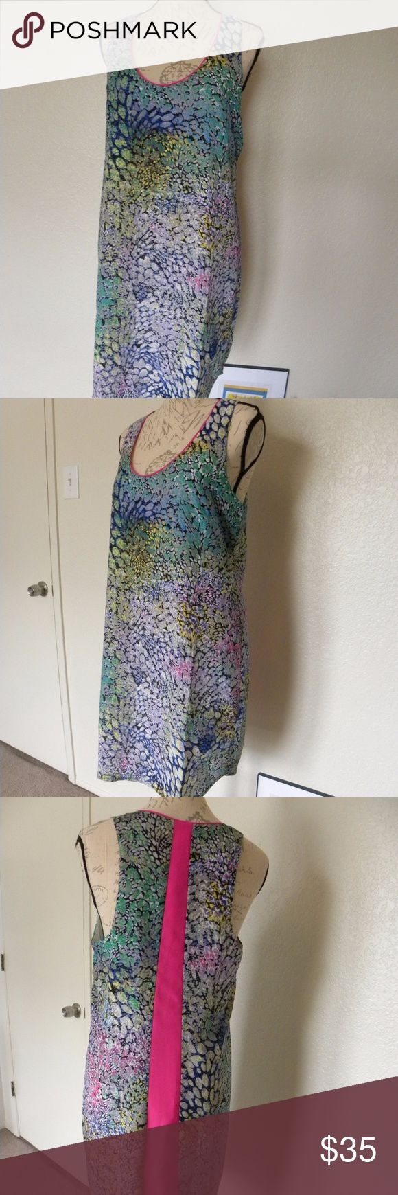 Charlie Jade Women's Dress Sleeveless Tank Size S Charlie Jade  Women's Dress Sleeveless Tank  Size Small Petite Colorful with Pink Line in back  Beautiful dress completely lined.  Chest: 38 Waist: 37 Hips:40 New with Marshall's tag, do not have a brand tag. Never used charlie Jade Dresses Midi