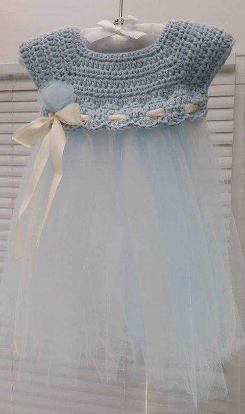Crochet and Tulle Baby Dress - Such a cute idea to add tulle to some crochet for a unique kiddie dress!