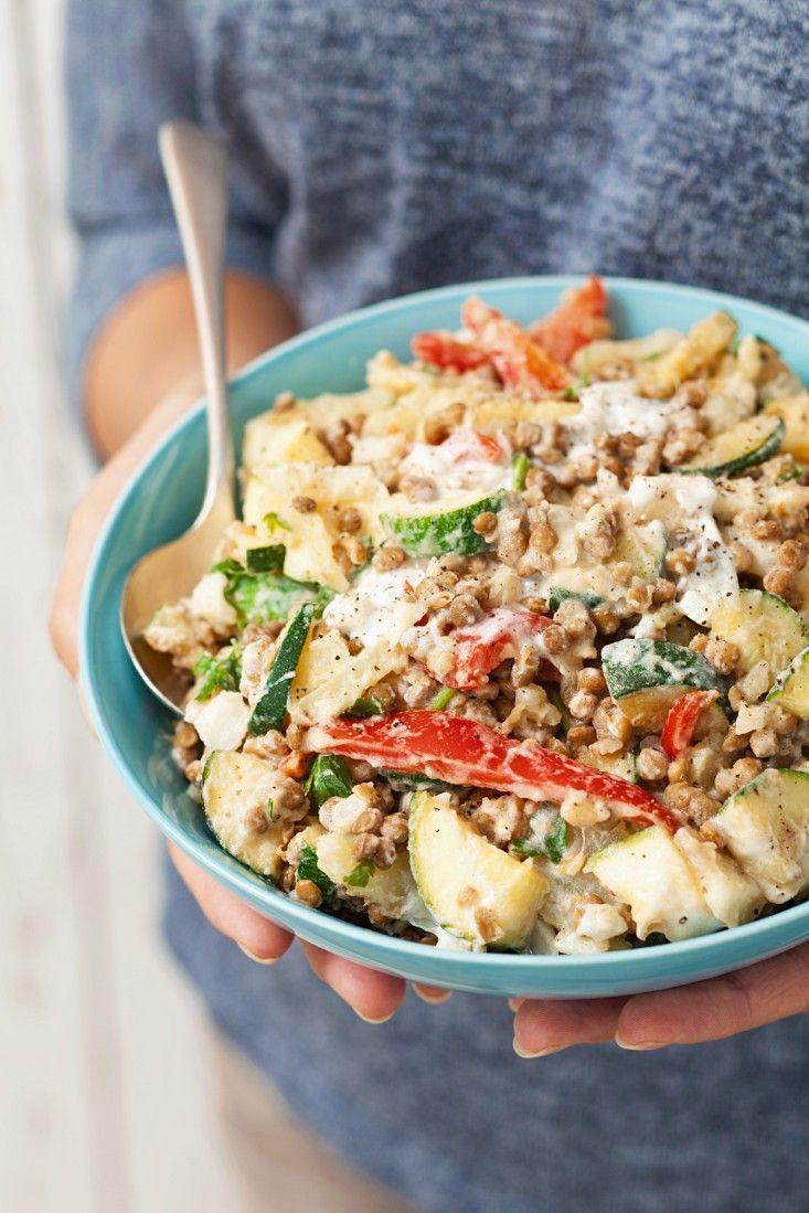 Kartoffel-Linsen-Salat mit Zucchini