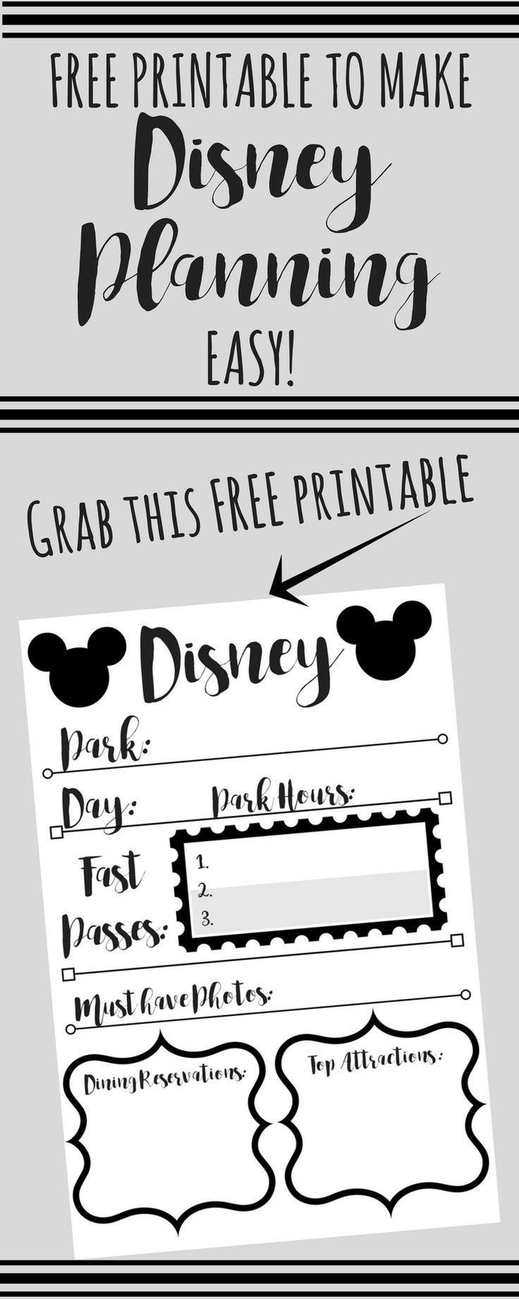 Disney Trip Planning Printable