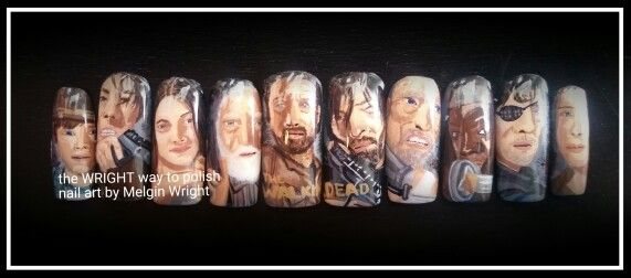 The Walking Dead nails..  Hand painted nail art with nail polish and acrylic paint. The Walking Dead nail art  #twd #thewalkingdead #walkers #thewalkingdeadfanart