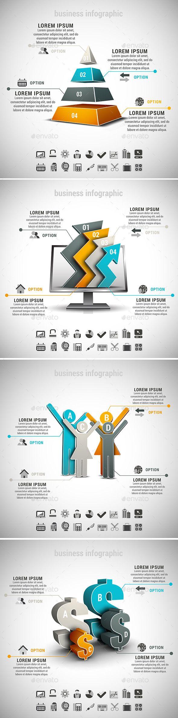 4 in 1 Business Infographics Bundle Templates #design Download: http://graphicriver.net/item/4-in-1-business-infographics-bundle/10701137?ref=ksioks