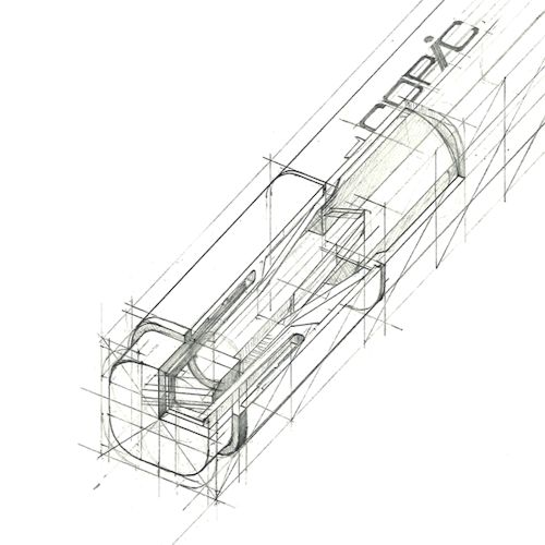 Great cutaway that shows the transition between construction lines and a…