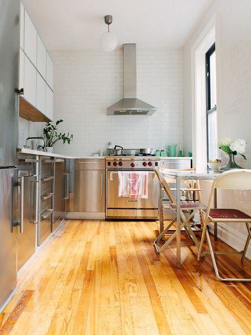 beautiful stainless steel kitchenCabinets, Furnishing, Chairs, Stainless Steel Kitchens, Industrial Kitchens, Subway Tile, Small Kitchens Design, White Ceramics, Apartments Kitchens