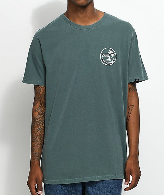 1cff016ac9 Vans Palm Circle Green   White T-Shirt in 2019