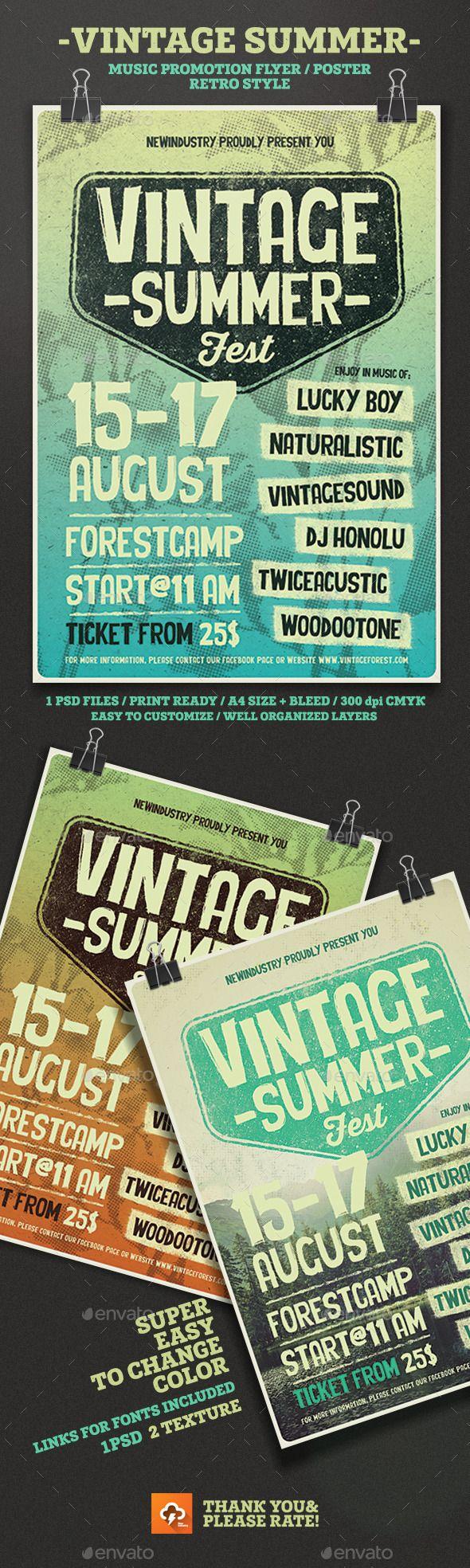 Vintage Summer Fest Poster / Flyer Template #design Download: http://graphicriver.net/item/vintage-summer-fest-posterflyer/12416829?ref=ksioks