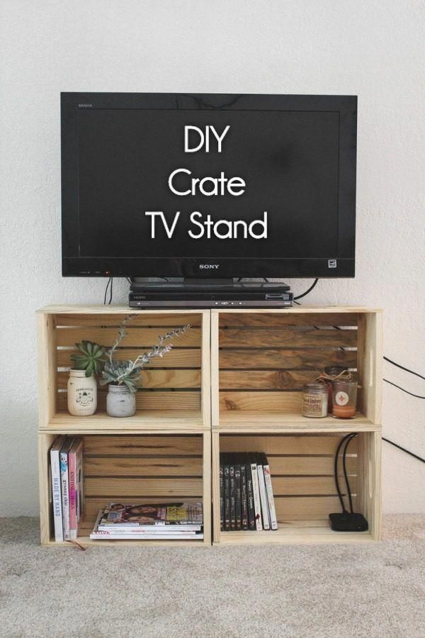 check out how to build a very easy diy tv stand form wooden crates rh pinterest com