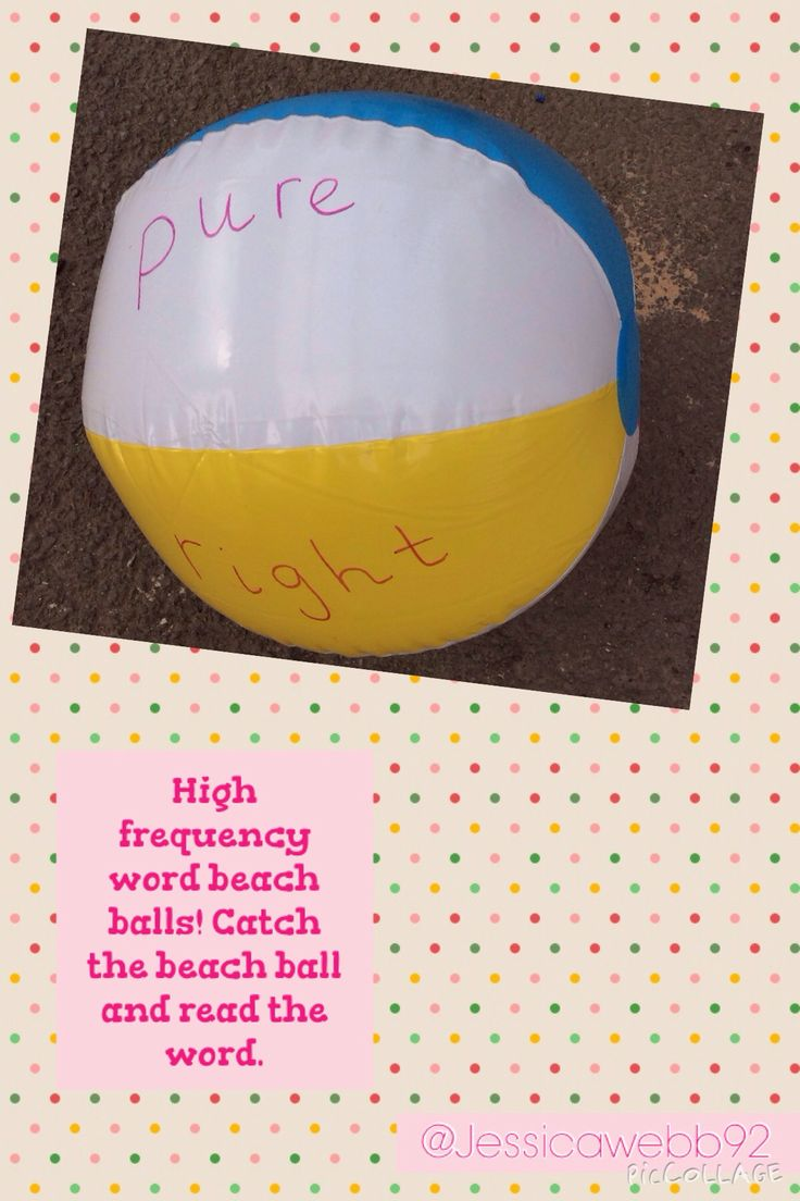 High frequency word beach balls. Catch the ball and read the words your hands are touching. EYFS