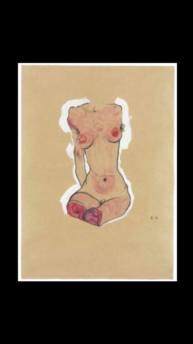 """Egon Schiele - """" Female Nude """", 1910 - Gouache, watercolor, black Conté crayon and pencil on paper - 43,8 x 31,5 cm"""