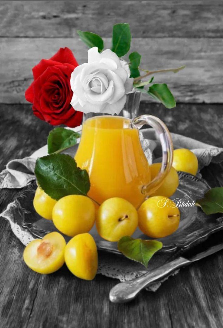 Открытка подруге, картинки с цветами и фруктами и добрым утром