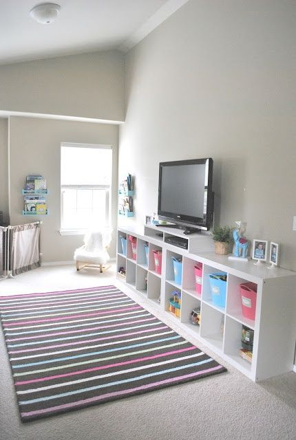 Great idea.. Shelving... Organized Playroom, I need to start this from the beginning with my husband and my son!!!
