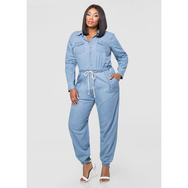 Ashley Stewart Denim Mechanics Jumpsuit ($60) ❤ liked on Polyvore featuring jumpsuits, long sleeve jump suit, denim jumpsuit, plus size denim jumpsuit, ashley stewart and plus size jump suits