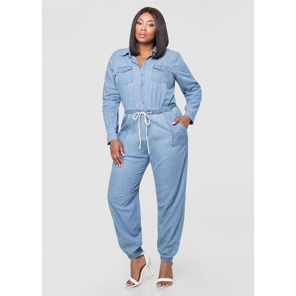 Ashley Stewart Denim Mechanics Jumpsuit ($60) ❤ liked on Polyvore featuring jumpsuits, long sleeve jump suit, denim jumpsuit, plus size denim jumpsuit, ashley stewart and plus size jump suits