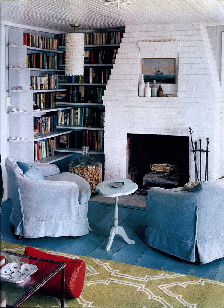 living room wall cabinets built%0A I love the cozy living room with its corner bookcase in this charming beach  bungalow  Most of us couldn u    t get away with a turqoise floor but