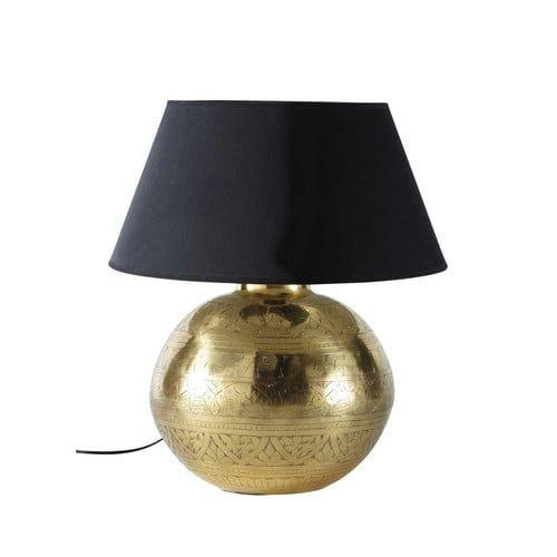 Lampe en métal effet doré et abat-jour en tissu H 49 cm MASALA