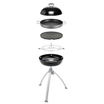 Robust design with a aluminium, 36cm BBQ top is ideal for grilling steaks, fish and hamburger patties. The cast aluminium ensures consistent, even heat distribution and retention.   The 36cm lightweight aluminium non-stick Teflon (US Du Pont®) pan is easy to use and clean. It features stay-cool handles for easy handling. The large cooking area is ideal for preparing risottos, paellas, pasta dishes, breakfasts and other meals that cater for large groups of people. #cadac #gas #bbq