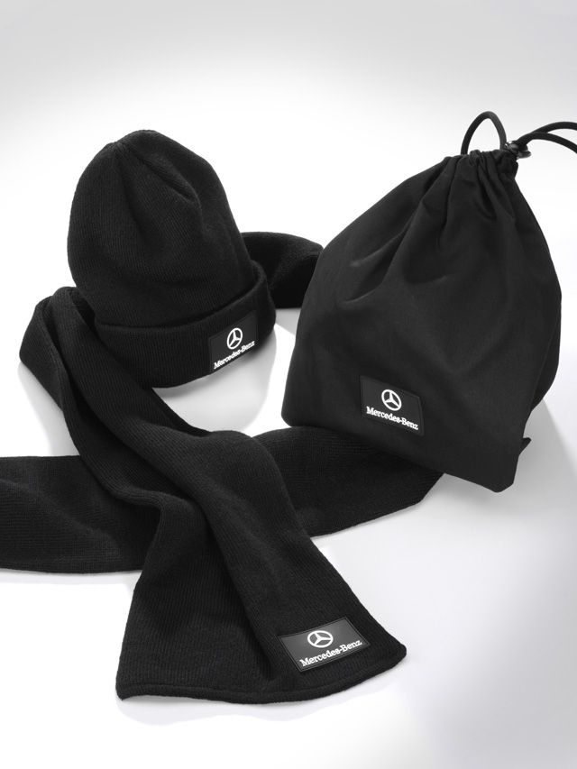 Hat and scarf set Unisex B67870521 Colour:     black Material information:     100% acrylic  Knitted hat and scarf. Black. 100% acrylic. Double layer, single rib design. With cotton drawstring bag. Logo on hat, scarf and bag.  Size: hat 30 x 30 cm, scarf 164 x 20 cm.