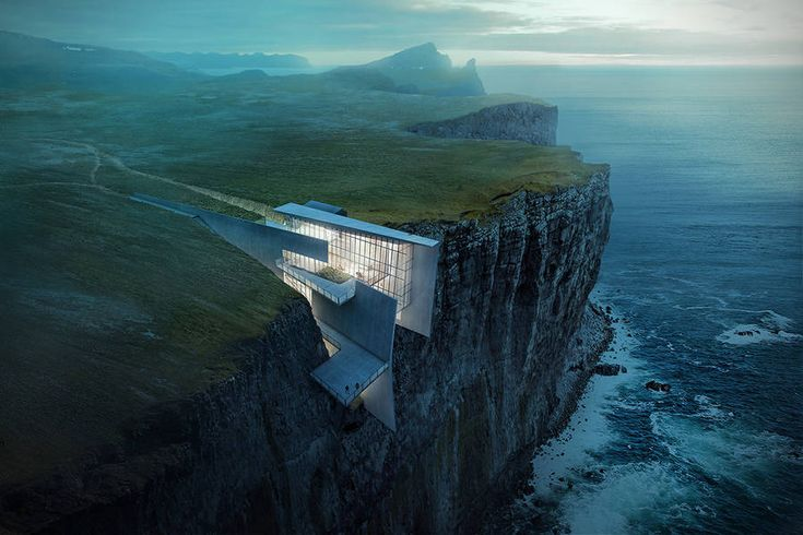 Concrete Geometrical House Concept on a Cliff in Iceland – Fubiz Media #iceland #architecture www.agencyattorneys.com