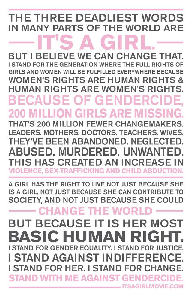 Take a Stand Against Gendercide. we had better stand firm and fast because gender based abortion is coming to Canada if we don't fight against it!
