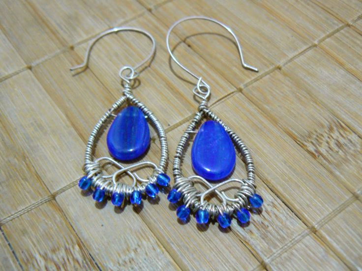 Tybetański Mnich: KOBALTY, cobalt, earrings, jewelry, silver, wire wrapping, handmade, handicraft, blue