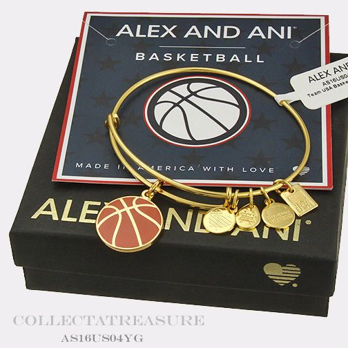 Bracelets 50637: Authentic Alex And Ani Team Usa Basketball Yellow Gold Charm Bangle BUY IT NOW ONLY: $31.0