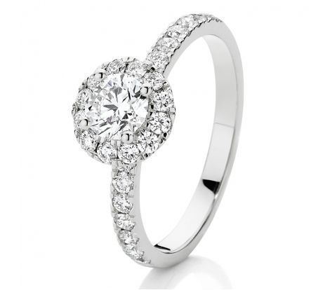 This 18ct white gold Canadian Fire diamond engagement ring features a 1/2ct centre diamond and has a perfectly set halo of diamonds to create even more fire and scintillation. The rare white diamonds are also set down the shoulders of the ring giving it a TDW of 1.00ct.