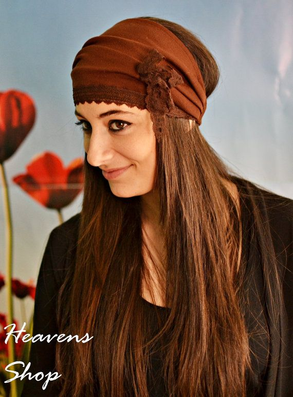 Brown Wide Headband Knitted Fabric Turban With Lace by HeavensShop, €14.00
