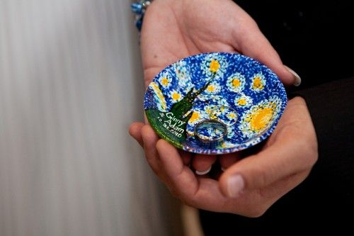 ring warming ceremony. I'm obsessed with this idea. And the plate is painted with my fav: Starry Night. I heart van Gogh. Ginny's time-saving ring-warming ceremony | Offbeat Bride