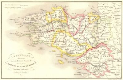 BRETAGNE: Divisee par Anciens Eveches Comtes; Ancient Bishoprics, 1844 map