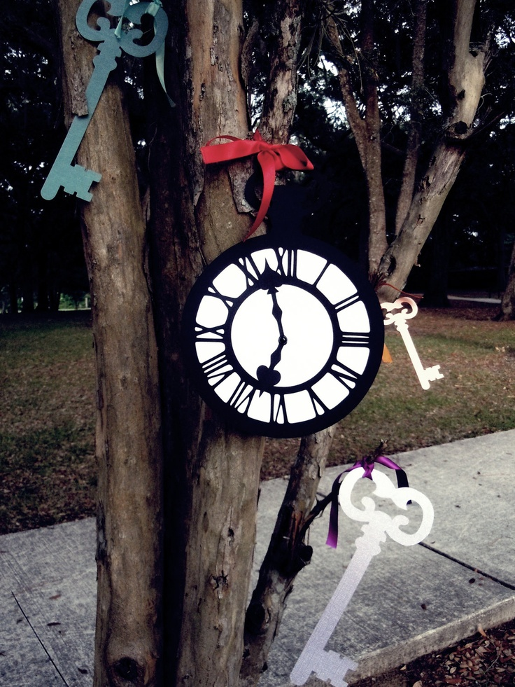 Alice In Wonderland Party Supplies -Jumbo Pocket Watch Clock- Decoration/Prop- Black/White- The White Rabbit. $6.00, via Etsy.