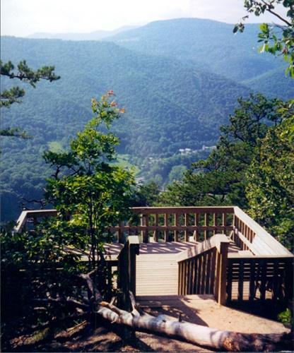 "View from the top of Seneca Rocks in ""Squeezing Through Stones in Seneca Rocks, West Virginia"" by Sandra Friend."